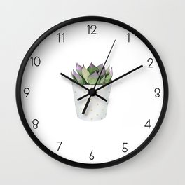 Succulent in a pot. Wall Clock