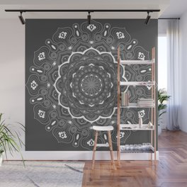 mandala black (grey) and white Wall Mural