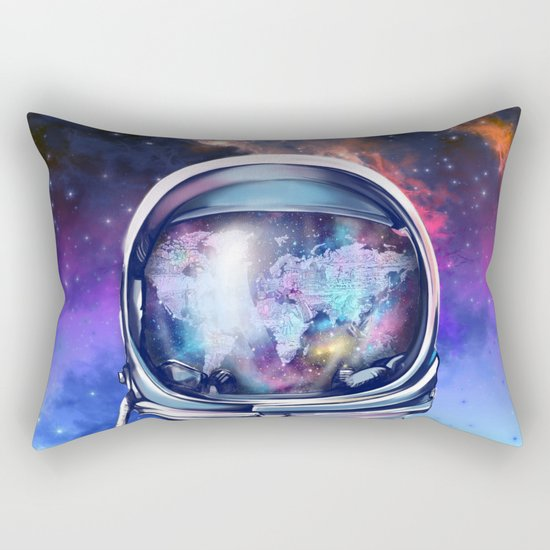 astronaut world map 1 Rectangular Pillow