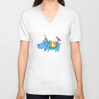 hippo V-neck T-shirts featuring hippo by sosie&gogo