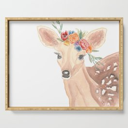 Watercolor Deer Flower Crown Serving Tray