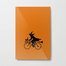 Witch on a Bicycle Metal Print