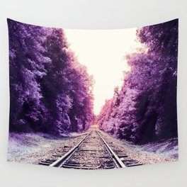 Amethyst Orchid Train Tracks Wall Tapestry