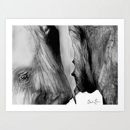 Black and White Elephant Art Print