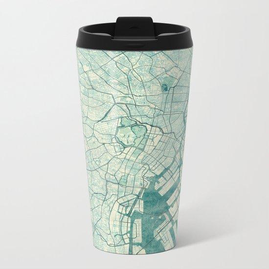 Tokyo Map Blue Vintage Metal Travel Mug