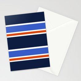 Navy, White, Blue, Orange Repp Tie Pattern Stationery Cards