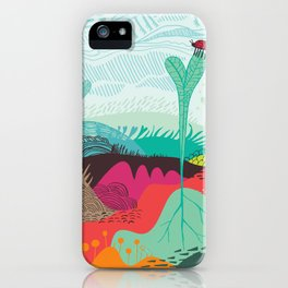 Colourful landscape with young plants, insects and birds iPhone Case