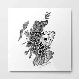 Scotland Zendoodle Black and White ZIA Art Metal Print