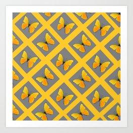 GOLDEN BUTTERFLIES GREY LATTICE  DESIGN Art Print