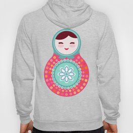 dolls matryoshka on black background, pink and blue colors Hoody