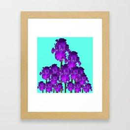 Contemporary Blue &  Purple Iris Garden Art Framed Art Print