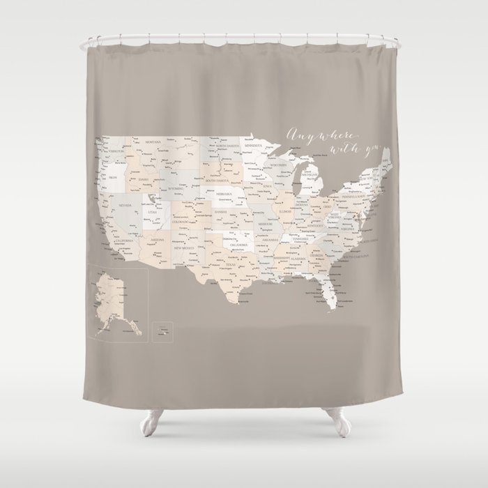 Anywhere With You USA Map Shower Curtain By Blursbyaishop