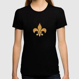 Black and Gold Foil Fleur De Lis T-shirt