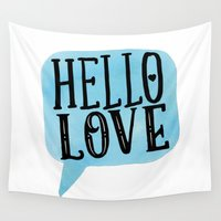 lettering Wall Tapestries featuring Hello Love Lettering by Seven Roses