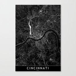 Cincinnati Black Map Canvas Print
