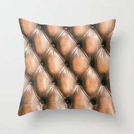 Pattern of chesterfield buttoned brown leather Throw Pillow