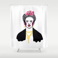 frida kahlo Shower Curtains featuring Frida Kahlo by NikkiMaths