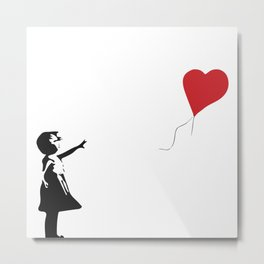 Banksy Girl with Heart Balloon Metal Print
