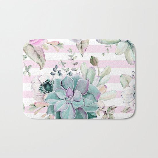 Simply Succulent Garden on Desert Rose Pink Striped Bath Mat