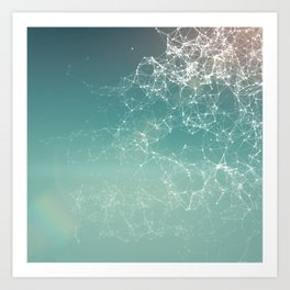 Fresh summer abstract background. Connecting dots, lens flare Art Print