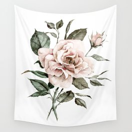 Faded Pink Rose Wall Tapestry
