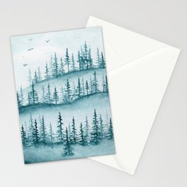 Mayan Blue Monochrome Pine Landscape watercolor painting Stationery Cards