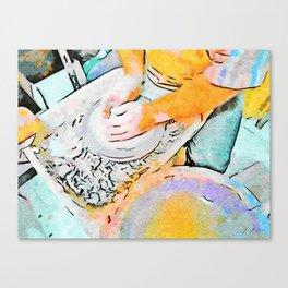 Hands of the ceramist craftsman Canvas Print