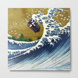 TARDIS GREAT WAVE Metal Print