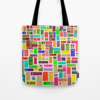 doors Tote Bags featuring Doors - White by Finlay McNevin