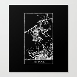 0. The Fool- White Line Tarot Canvas Print
