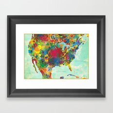 United States Map Framed Art Print