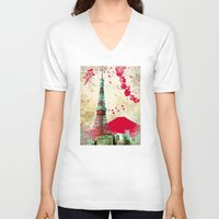 tokyo V-neck T-shirts featuring Tokyo by Kimball Gray