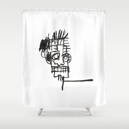 A vectorised and reworked Basquiat notebook sketch Shower Curtain