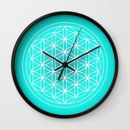 Turquoise Flower of Life Mandala Wall Clock