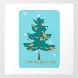 Mid Century Christmas Tree Art Print