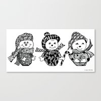 glee Canvas Prints featuring We Three Glee by Jo-Anne Gazo-McKim