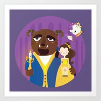 beauty and the beast Art Prints featuring Beauty and beast by Maria Jose Da Luz