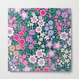 Cute flower pattern design drawing with watercolor on floral navy Metal Print