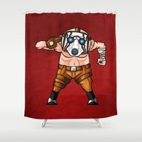 borderlands Shower Curtains featuring BORDERLANDS PSYCHO by DROIDMONKEY