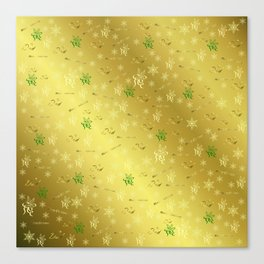dad Golden merry christmas font with stars, ornaments elegant festive gold hearts in gold Canvas Print