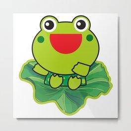 cute happy kero kerompa frog frogy Metal Print