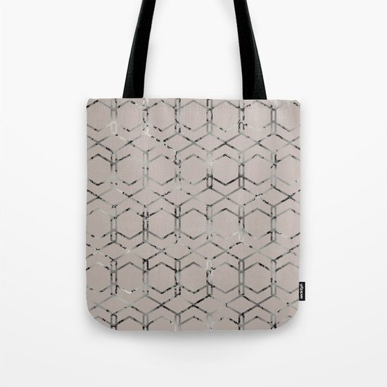 Silver Geometric Art Deco - Gatsby Taupe Tote Bag