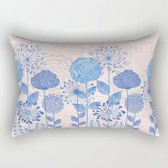 Light Blue Flowers Rectangular Pillow