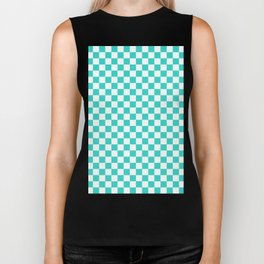 White and Turquoise Checkerboard Biker Tank
