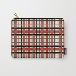 Gray beige orange plaid Carry-All Pouch