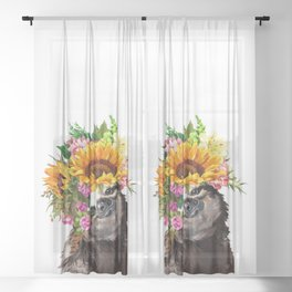 Sloth with Sunflower Crown Sheer Curtain