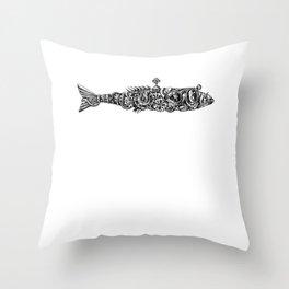 Steampunk Fish w/ Wind Up Key Clockwork Throw Pillow