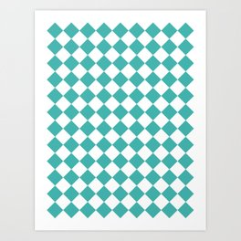 Diamonds - White and Verdigris Art Print