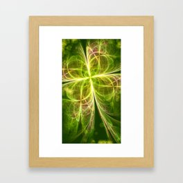 Abstract Lines Green Clover Shape Framed Art Print