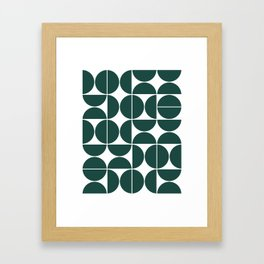 Mid Century Modern Geometric 04 Dark Green Framed Art Print